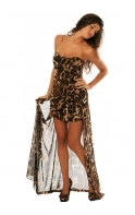 Dress Animal Print Bustier Gown With Ruched Mini