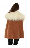 Shoulder Cloud Bolero Ivory Mongolian Fur Collar