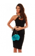 Bag Silky Satin Petal Rosettes Turquoise Evening Bag