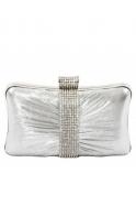 Bag Silver Satin Crystal Band Box Clutch Bag
