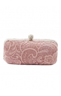 Bag Rose Pink Lace Detail Crystal Clasp Box Clutch Bag