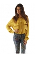 Shirt Folk Crepe Cropped Mustard Blouse
