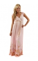 Dress Seashell & Bird Blessings Printed Pink Silk Maxi Dress
