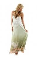 Dress Seashell & Bird Printed Green Silk Maxi Dress
