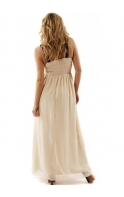 By Lauren Pope Embellished Lace Panel Nude Maxi Dress