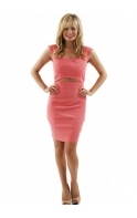 Dress Adriana Open Front Coral Fitted Pencil Dress As Seen On Sam Faiers