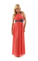 By Lauren Pope Embellished Lace Panel Coral Maxi Dress