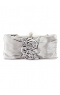 Bag Rose Applique Rosette Silver Satin Evening Bag