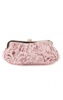 Bag Crystal Clasp Lace Covered Vintage Rose Evening Clutch Bag