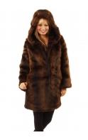 Hooded Faux Fur Mink Coat
