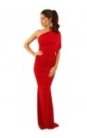 Alicia Maxi Dress Red Draped One Shoulder