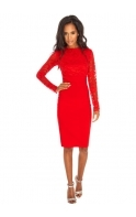 Long Sleeve Red Lace Pencil Dress