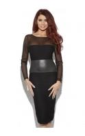 Brandie Black Faux Leather Detail Body Con Dress