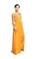 Nina Mustard Gold Embellished Maxi Dress