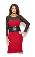 Brandie Red Faux Leather Detail Body Con Dress