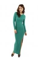 Celebrity Style Open Back Slit Leg Green Maxi Dress