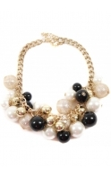 Gold Chain Choker With Chunky Multicoloured Pearls