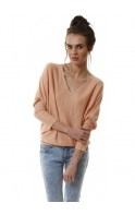 Coral & Gold Sparkle Fine Knit Jumper With Scarf