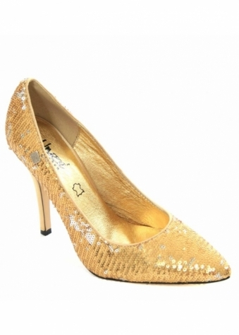 Unze Gold Sequinned Court Shoe
