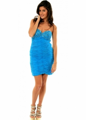 BG Haute Dress Turquoise Ruched Jewelled Bust