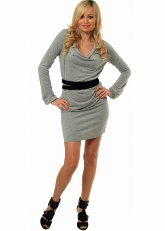 Dress Draped Neck & Contrasting Belt