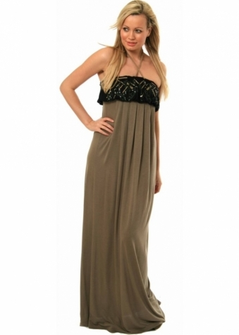 Pinko Maxi Dress Chiaro Rope Ties & Sequins