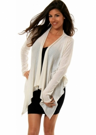Waterfall Cardigan Ivory Silk & Linen