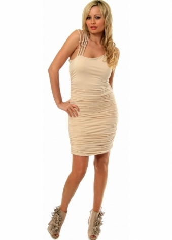 Dress Ruched Jersey With Knotted Back