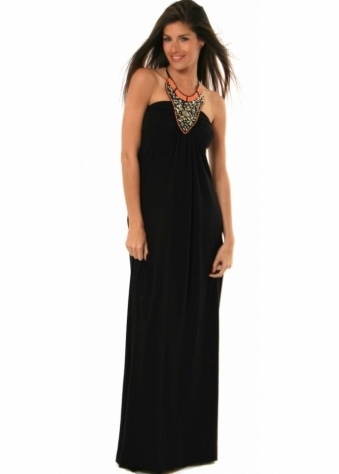 Raina London Maxi Dress Black Jersey Beaded Halter Neck Ties