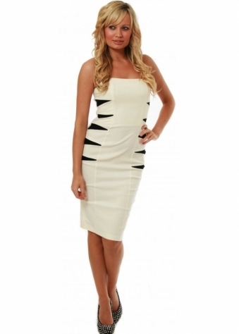 Hybrid Dress Spiky Side Arrow Bustier Cream Dress