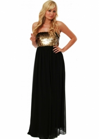 Dress Chiffon Sequinned Strapless Cass Ball Gown