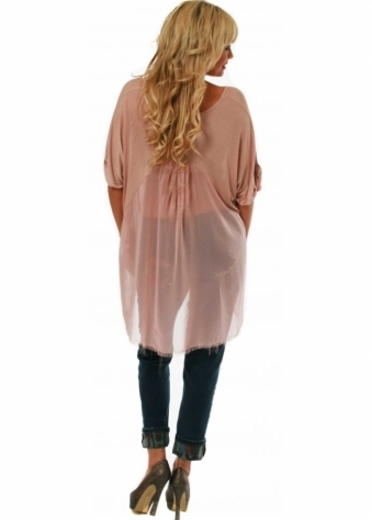 Top Harlow Frayed Chiffon Back Oversized Tunic