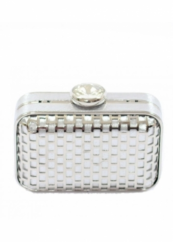 Bag Metal Cage Jewel Silver Box Clutch Bag