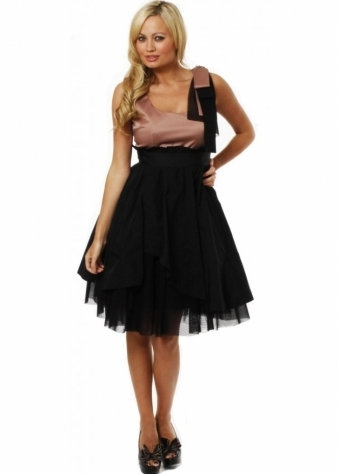 Nissa Dress Bow Embellished Full Skirted Tulle Party Dress