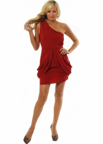 Gestuz Dress Red Pleated One Shoulder Draped Silky Dress