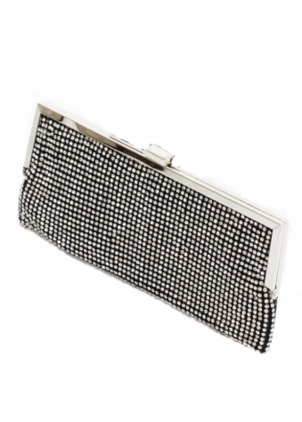 KoKo Bag Black Crystal Embellished Envelope Evening Clutch Bag