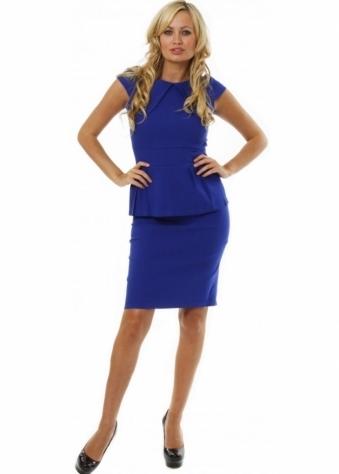 Koo-Ture Dress Blue Pleated Peplum Stretch Pencil Dress