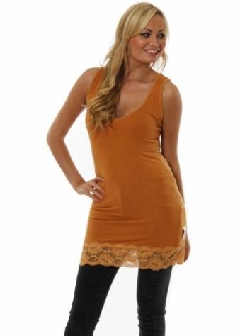 Vest Amber Longline Jersey Lace Hem Vesty Top