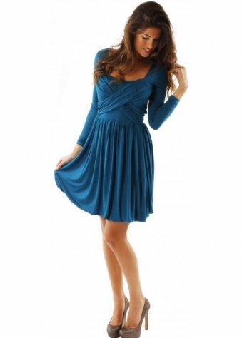 Dress Kimberly Cross Over Teal Jersey Dress
