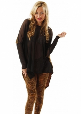 Top Evie Oversized Animal Print Long Sleeve Amber Mesh Top