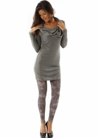 Dress Kara Cowl Neck Fine Knit Grey Tunic Dress