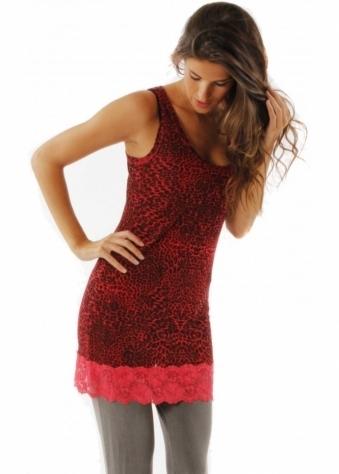 Top Zandra Ditsy Animal Print Lace Ruby Vest Top