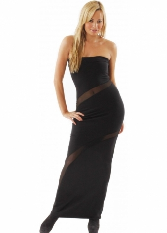 Quontum Dress Black Mesh Slash Curve Maxi Dress