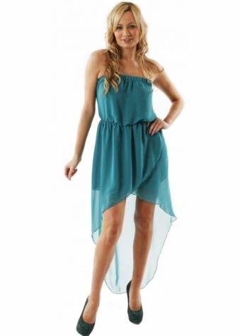 Love Dress Teal Strapless Asymmetrical Maxi Dress