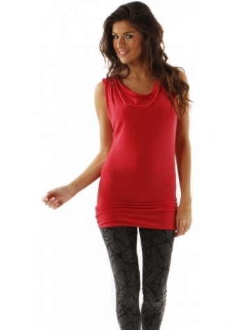 Top Ruby Dora Cowl Long Line Vest