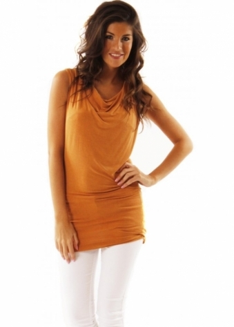 Top Amber Dora Cowl Long Line Vest