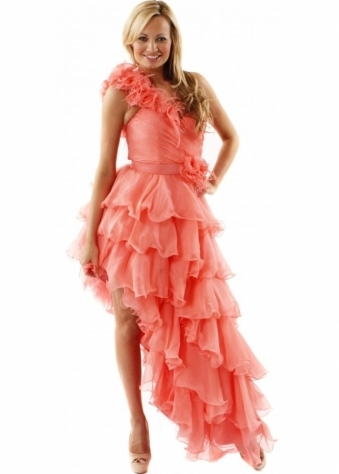 Dress Paloma One Shoulder Flower & Feather Coral Prom Dress