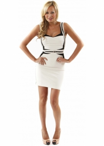 Dress Holly Geometric Ivory & Black Panelled Fitted Dress