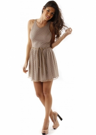 Love Dress Mink Spot Open Back Mini Dress