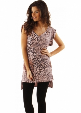 Top Valenta Animal Print Rose Quartz Tunic Dress